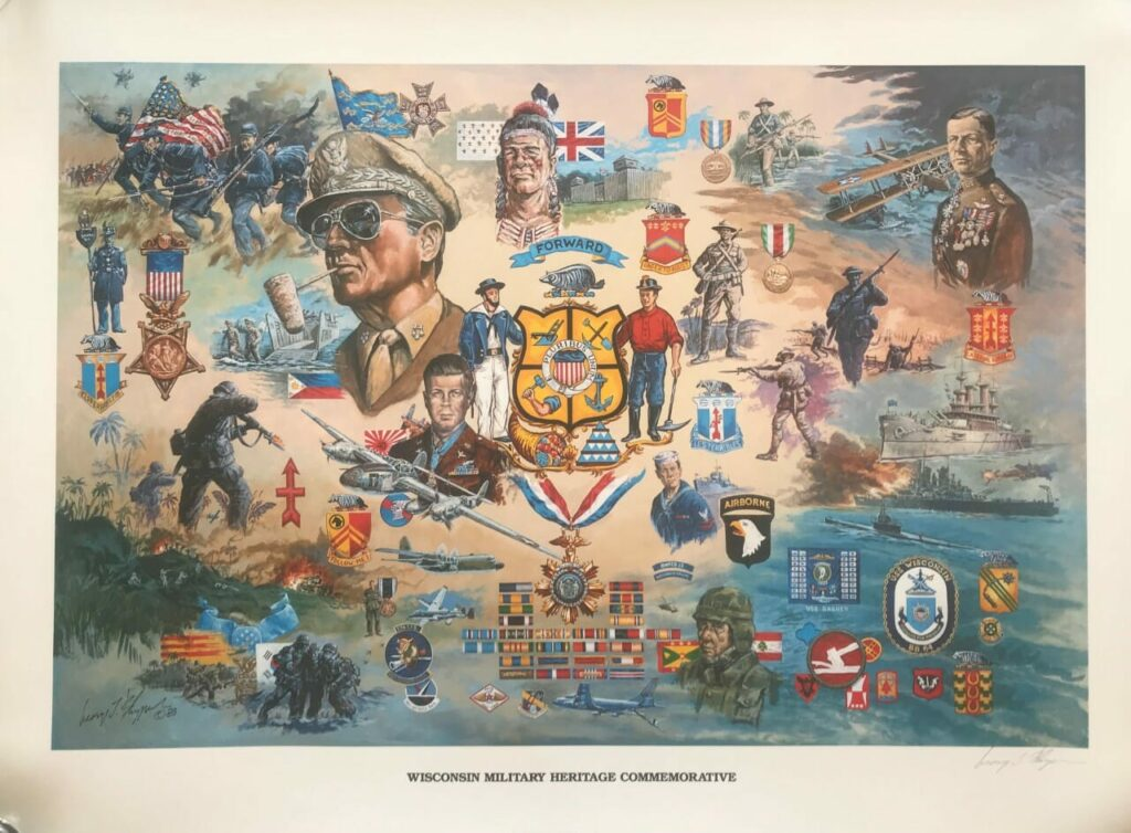 Wisconsin Military Heritage Commemorative Poster by George L. Skypeck
