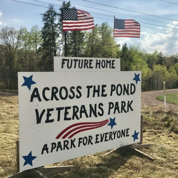 Across The Pond Veterans Park sign